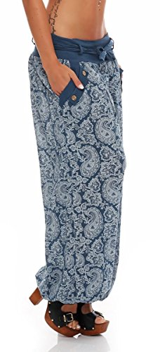 malito Damen Pumphose mit Orient Print | leichte Stoffhose | Freizeithose für den Strand | Haremshose �?luftig 3488 Jeansblau