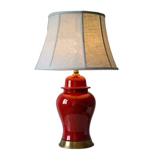 QQB &die Tischleuchte Keramik Schreibtischlampe - Klassische Moderne Einfache Rote Topf Keramik Tischlampe - Schlafzimmer Schlafzimmer Kopf Lampe im Chinesischen Stil