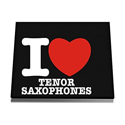 Teeburon I love Tenor Saxophone Canvas Wall Art  12 x 8 Inch