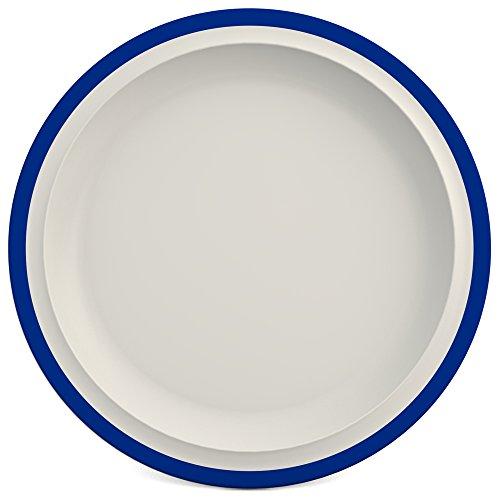 Ornamin Teller flach Ø 26 cm Rand blau, Melamin | großer hochwertiger, stabiler Kunststoffteller | robustes Alltags-Geschirr für Kinder, Camping, Picknick, Gemeinschaftsverpflegung, Großküchen, Institutionen | Menüteller, Speiseteller