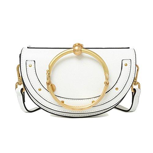 Preisvergleich Produktbild Frauen Echtes Leder Niet Runde Ring Griff Einzigen Schulter Crossbody Half Moon Bag.,White