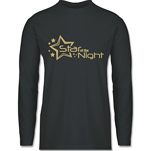Shirtracer JGA Junggesellenabschied - Star of The Night - Herren Langarmshirt Dunkelgrau