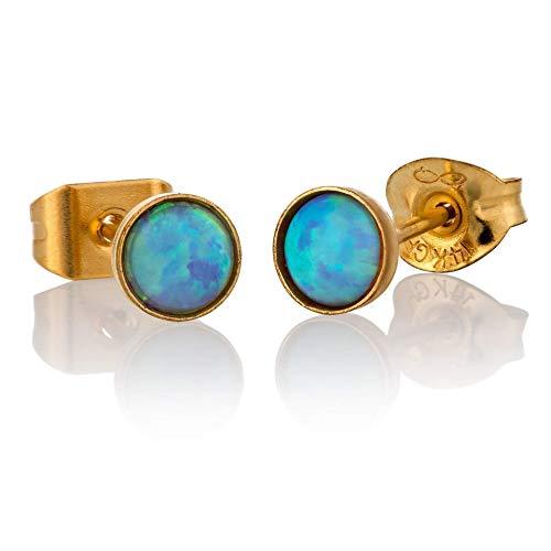 Opal Ohrstecker Gold gef?llt 4mm hellblauen Opal kleine Beitr?ge f?r Frauen Frauen Post