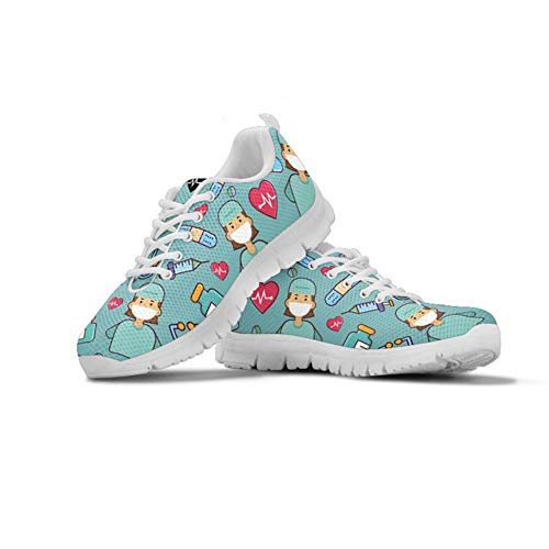 Coloranimal Comfort Breath Go Easy Walking Sneaker für Frauen Casual DailyShoes Cute Krankenschwester Heartbeat Printed Rutschfeste Laufen Jogging Tennis Flache Schuhe EU Größe 41 (Tennis 5 Größe Womens Schuhe)