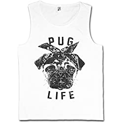 PUG LIFE I CAMISETA SIN MANGAS – doguillo Carlino Hip Hop Ghetto Life Gangster OG Criminal Rap Mobster Tamaños S – 5XL