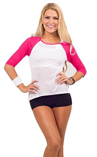 Shirt Active Sport avec col rond Color Block manches 3/4, tissu léger Fuchsia