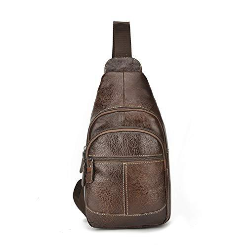 Explosion Modelle Männer Brusttasche Casual Leder Brust Top Layer Leder Tasche Mode Sporttasche braun -