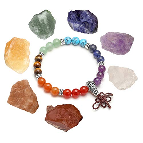 MANIFO Reiki - Pulsera de cuentas de cristal curativo con 7 piedras de chakra para meditación de equilibrio