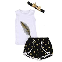 Puseky Toddler Kid Girls Feather Sleeveless Vest Top+Shorts+Headband Outfits Set (2-3 Years, White+Black)