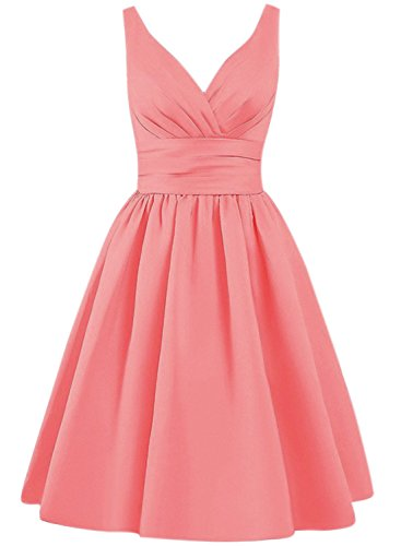 Azbro Women's Simple V Neck A-line Bridesmaid Dress Watermelon Red