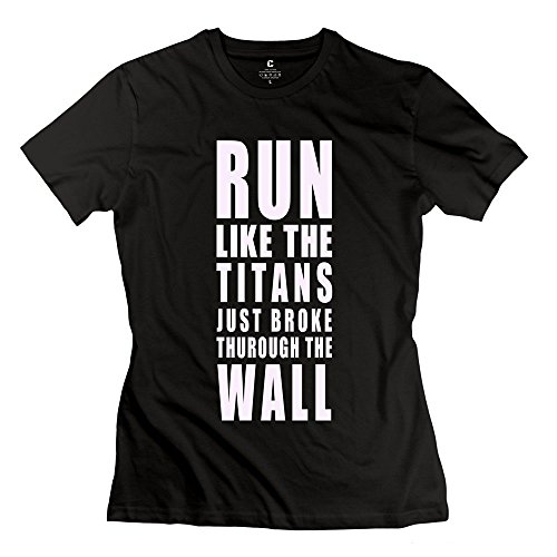 Greucy-darkNext Style Women's Attack On Titan Run Thurough The Wall Black T-Shirt