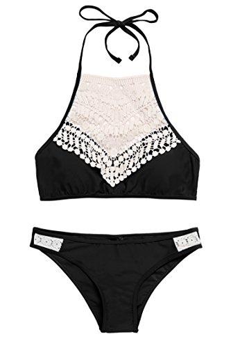 Avidlove Bikini-set Damen Badeanzug mädchen bikini 2017 Neu Fashion Neckholder high waist mit Bauchweg-Effekt Schwimmanzug mit Streifen schwarz rot blau Stil 2: Schwarz