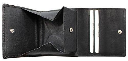 Geldbörse, Damen und Herren Geldbörse für Linkshänder, Leder, schwarz