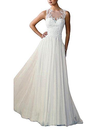 Dresses Onlie Damen Chiffon Hochzeitskleider Brautkleid Lang Partykleider Spitze Brautjungfern...