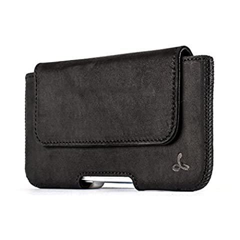 Snakehive® Premium Leather Pouch Case Holster with Belt Loop for Apple iPhone 6/6s (Black)