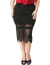 Sourcingmap Agnes Orinda Women's Plus Size Lace Panel Elastic Waist Slim Fit Skirt