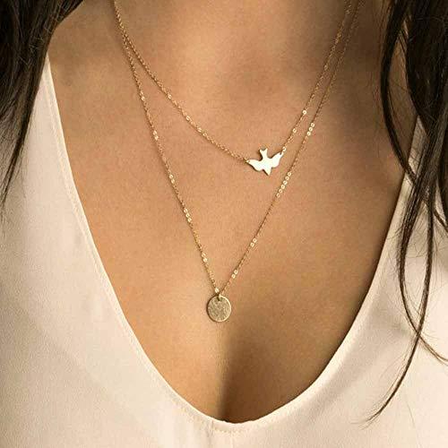 TLLAMG Halskette Handgemachter Schmuck Sommer Einfache Wilde Dame Doppel Friedenstauben Goldkette Kleine Schwalbe Halskette