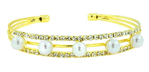 The Jewelbox Super Light Weight Gold Plated Pearl American Diamond CZ Cudd Kada Bangle Bracelet for Women