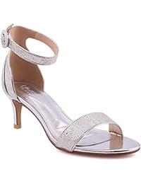 """059093017be Unze Women """"CORA"""" Fashion Kitten Heel Open Toe Classic Ankle Strap Shimmer  Closed Heel"""