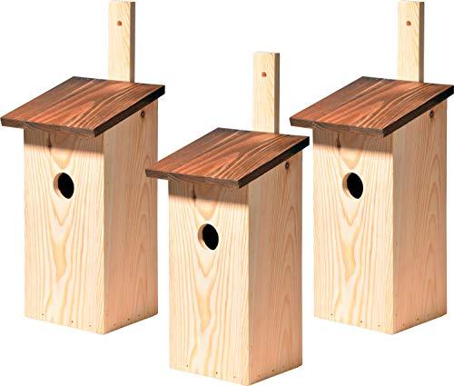 dobar 22137e 3X Einfacher Meisenkasten mit praktischer Befestigungsleiste, Einflugloch Ø 32 mm, 17 x 17 x 40 cm, Kiefer, Braun