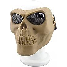 YX - Máscara metálica para bicicleta, Halloween, calavera de esqueleto, Airsoft, paintball, pistola de balines, cara completa, 22T