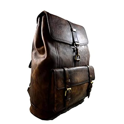 Vintage leather backpack genuine washed leather travel bag weekender sports bag gym bag leather shoulder ladies mens dark brown backpack - handmade-bags