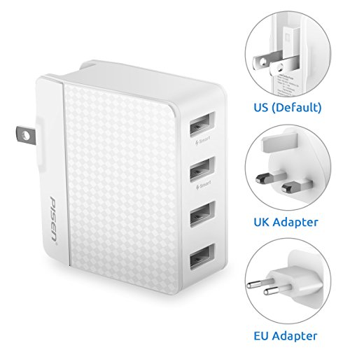 PISEN USB Adapter 20W 5V/4A USB Ladegerät 4 USB Port Ladeadapter Reiseadapter mit UK USA EU Steckern Travel Adapter für iPad iPhone Samsung Galaxy usw(Weiß)