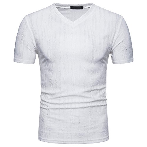 Dragon868 Herren Casual Persönlichkeit hochwertiges elastisches Loch T-Shirt
