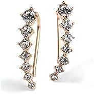 Ear Crawler Earrings Climbers Ear Cuff Pin Vine Wrap Stud 7 Star CZ Crystal Rhinestone Charm Hook Jewelry Gold