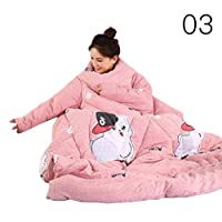 Gorgebuy Winter Lazy Quilt Blanket with Sleeves - Cute Printed Thickened Lazy Quilt with Zip, Wearable and Machine Washable, for Home Bed and Office Rest (Full Size, 150×200cm)