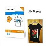 Lot de 10 feuilles de papier transfert pour t-shirt foncé 21,6 x 27,9 cm, papier A4
