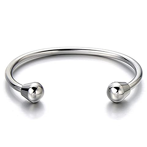 Unisex Elastic Adjustable Stainless Steel Bangle Bracelet for Men and Women Silver Color Polished