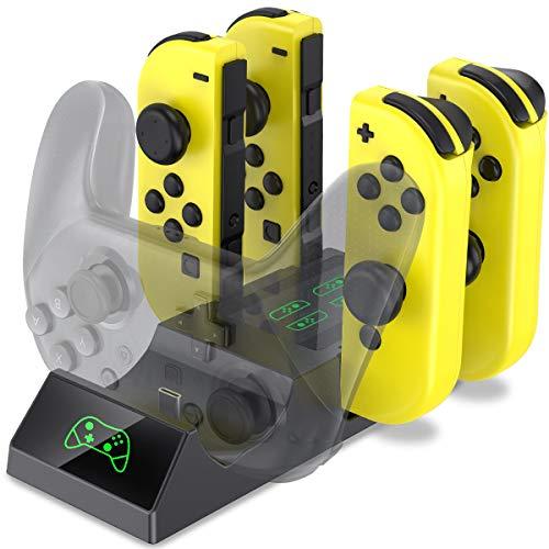 BEBONCOOL Controller Ladegerät für Nintendo Switch, Switch Joy-Con Controller und Pro Controller 5-in-1 Ladestation mit LED-Anzeigen und Ladeanschluss Typ C