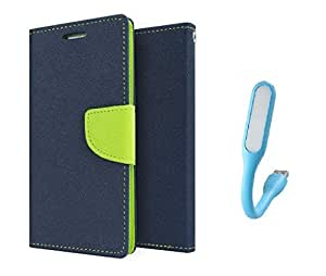 MicroMax Doodle 3 / A102 Flip Cover With USB Light By Online Street (Blue Flip With Colurs May vary In USB Light)