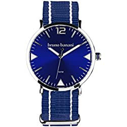 Bruno Banani BR30041Cool Summer Unisex Analogue Air Band Metal 50ATM Dark Blue White