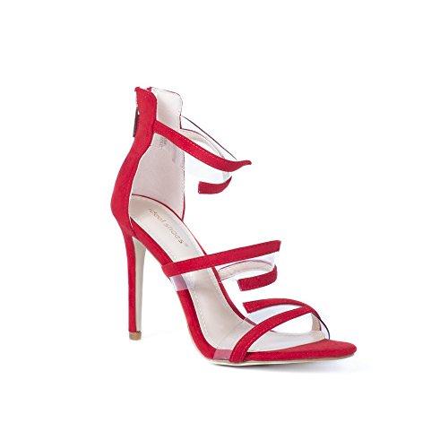 Ideal Shoes Sandales à Talons Effet Daim Deva Rouge