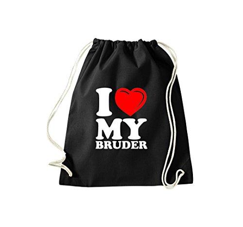Turnbeutel I LOVE MY BRUDER Gymsack Kultsack Schwarz