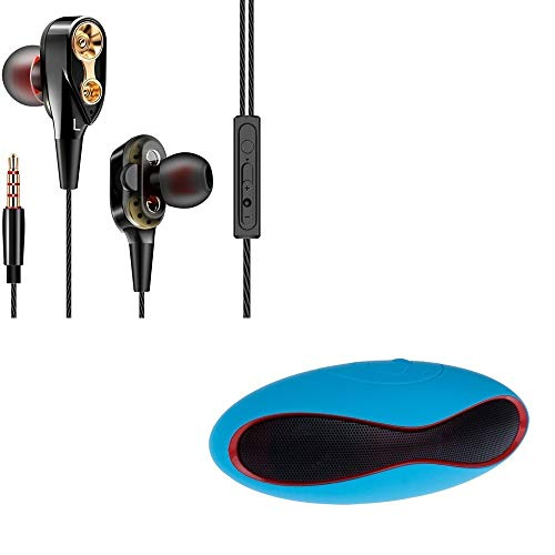Markbiz 4D Universal in-Ear Headphone Deep Bass Stereo Earphone with Mini Rugby Bluetooth Multimedia Speaker System with Pen Drive Port & SD Card Slot Support for All Smartphones (Assorted Colour)