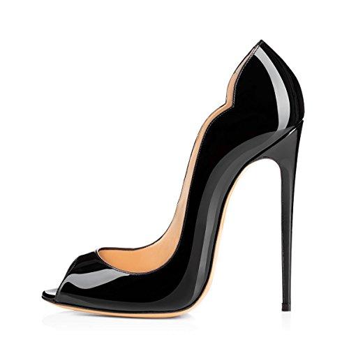 Damen Fashion Open Toe Freie Toe Slip-on Pumps Hohe Absatz Extreme Stiletto Komfort Schwarz Lady Schuhe Schwarz