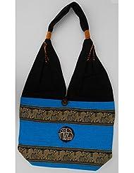 Sac bandoulière, sac besace coton Bleu turquoise