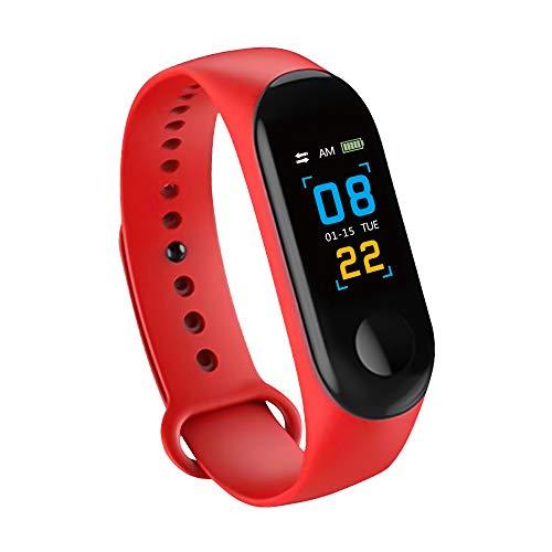 Konesky Fitness Tracker Monitor de Ritmo cardíaco Pulsera de presión Arterial Actividad Reloj Podómetro Contador de calorías Pulsera para Android iOS Smartphone (Rojo)
