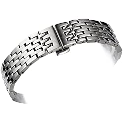 Men's 316L Solid Stainless Steel Metal Watch Bands / Straps Replacement for Tissot 1853 Le Locle T41 Series 19mm 20mm