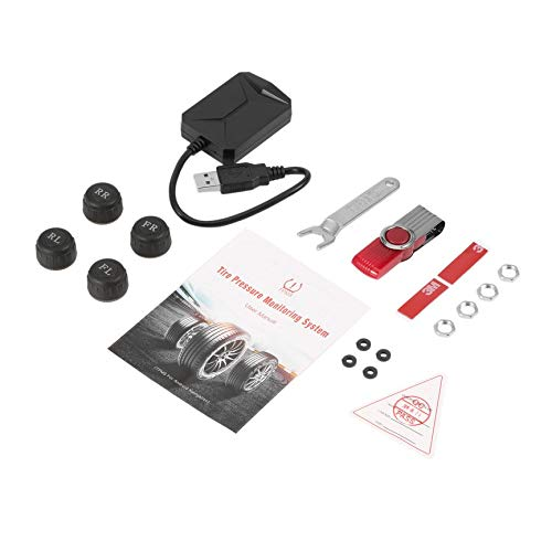 VCBBVG USB Car TPMS Android Tire Pressure Monitoring System with 4 External Sensors-Black (Monitoring-sensor Tire Pressure)