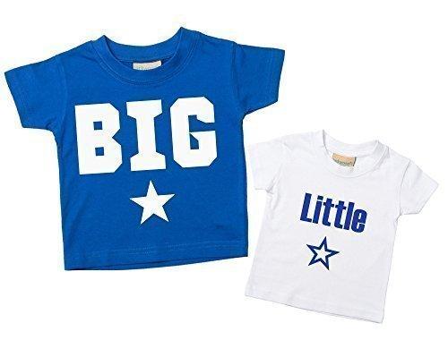 Großer Bruder Kleiner Bruder Sterne Tshirt Set blau-weiß T-shirt Set Baby Kleinkind Kinder verfügbar in den Größen 0-6 Monate Bis 14-15 Jahre Neu Baby Jungen Bruder Geschenk