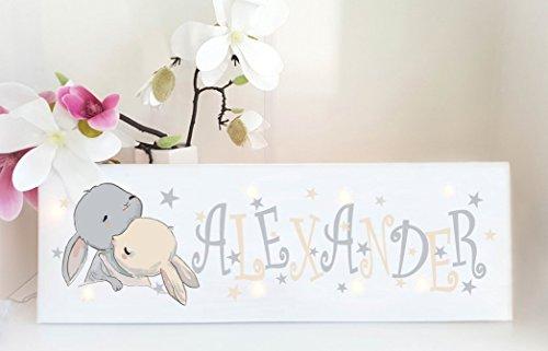 Leuchtbild mit Name - Wandlampe - Schlummerlampe Kinderzimmer personalisiert (Hase, Hasi)
