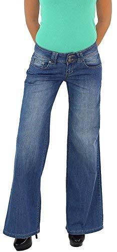 Bootcut Weites Bein Jeans (Damen Schlaghose Strechjeans Hüftjeans Bootcut Schlag Strech Hüft Jeans Hose Blau 38)