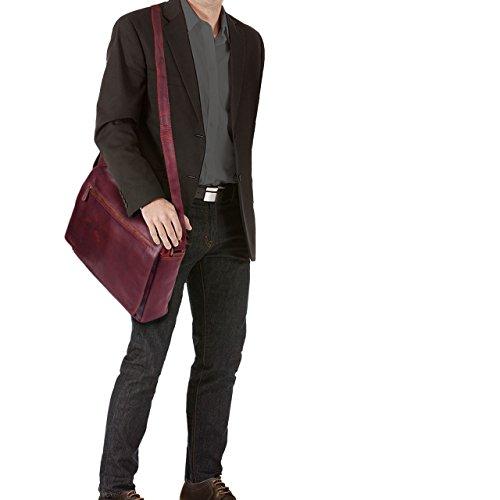 STILORD 'Jan' 15,6 Zoll Laptoptasche Leder Herren Damen Umhängetasche Unitasche Aktentasche Freizeit Bürotasche weiches Vintage Leder, Farbe:sattel - braun rosso