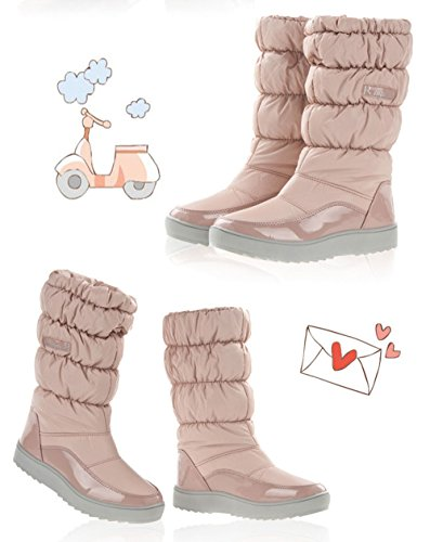 Gaorui Damen Mädchen wasserdichter Schneestiefel Schlupfstiefel Damen Boots Warm gefüttert Rot Rosa Beige