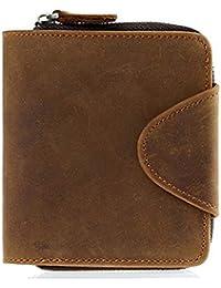half off 7b2bc 892c0 Olprkgdg Vintage Leder Herren und Damen allgemeine tragbare Mini Pocket  Wallet Geldbörse Schnalle Reißverschlusstasche (Color