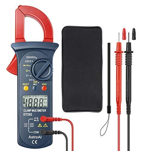 AstroAI Clamp Meter Digitaler Stromzange Multimeter mit 2000 Counts, Auto Range, Spannungsprüfer, Wechselstrom, Widerstand, Kontinuität; Testet Dioden, Rot/Schwarz